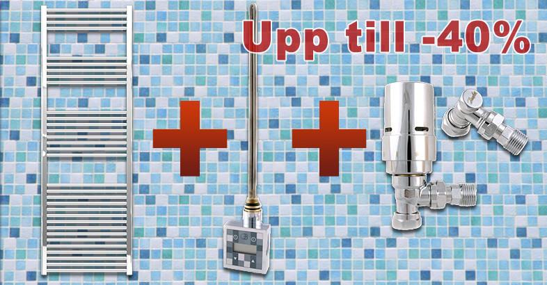 Supreme El & vattenburen platt handdukstork i krom inklusive alla delar; spara upp till -40%